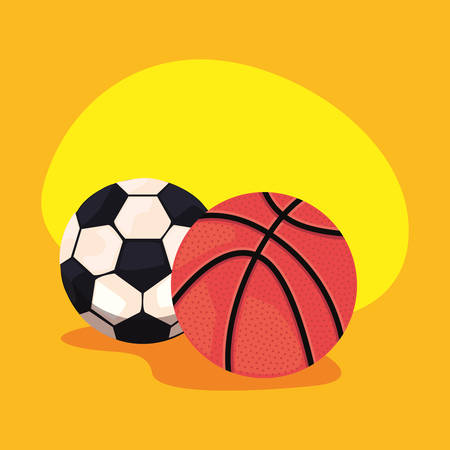 soccer and basketball sport balls equipment vector illustration Ilustração