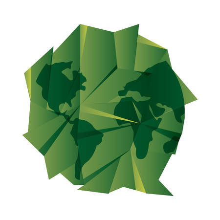 green paper shaped world happy earth day vector illustration 일러스트