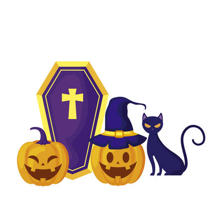 pumpkins with cat and icons halloween vector illustration design Stockfoto - 129657550
