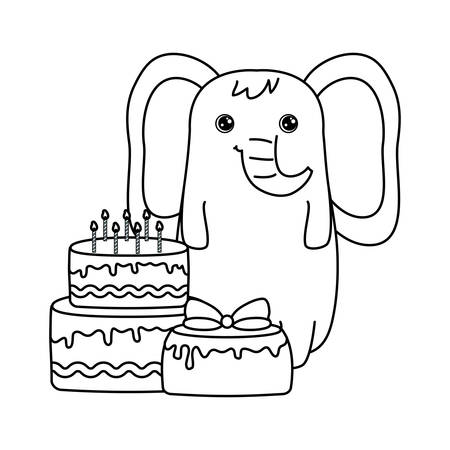 cute elephant with cakes of birthday vector illustration design