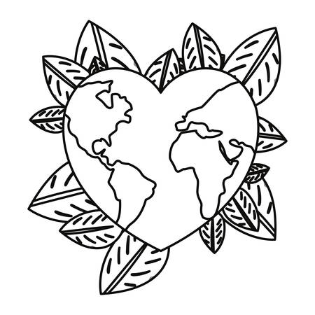 world shaped a heart leaves earth day vector illustration
