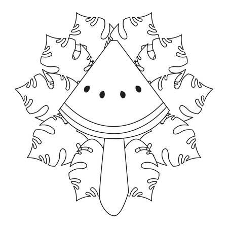 fruit ice pop summer time tropical leaves sketch vector illustration Ilustrace
