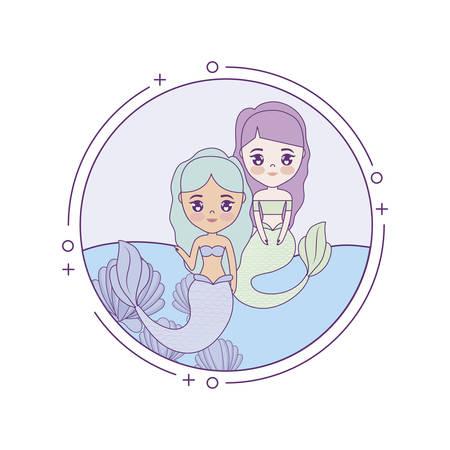 cute mermaids with sea in frame circular vector illustration design Stock Illustratie