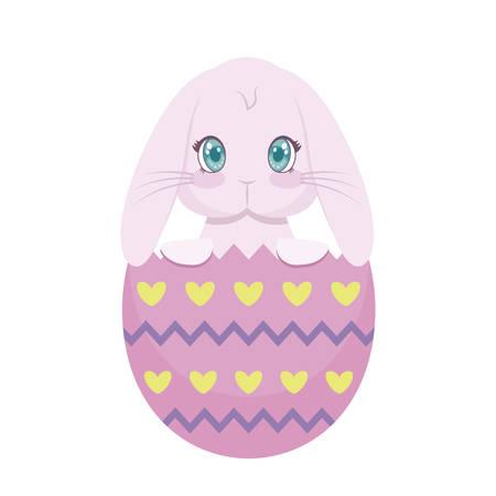 cute rabbit with egg of easter broken vector illustration design