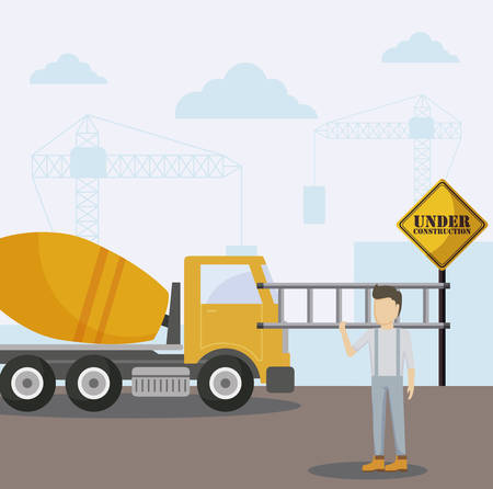 under constructionconcrete transport truck and worker vector illustration design Stock Illustratie
