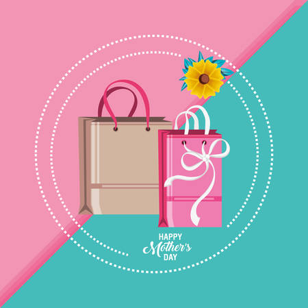 happy mother day card with bags shopping and flower vector illustration design Illustration
