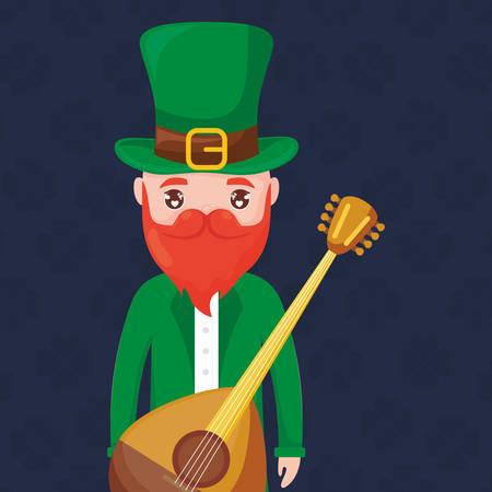 leprechaun saint patrick with mandolin vector illustration design