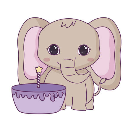 cute elephant animal with cake of birthday vector illustration design Stock Illustratie