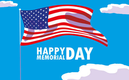 happy memorial day card with flag usa vector illustration design Çizim