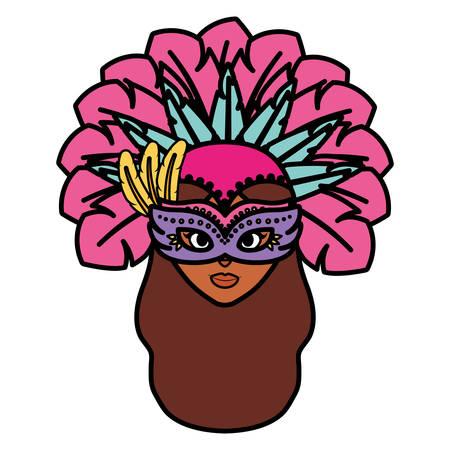 beautiful brazilian garota head character vector illustration design Çizim