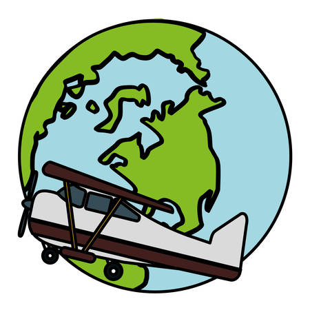 world planet earth with small plane vector illustration design
