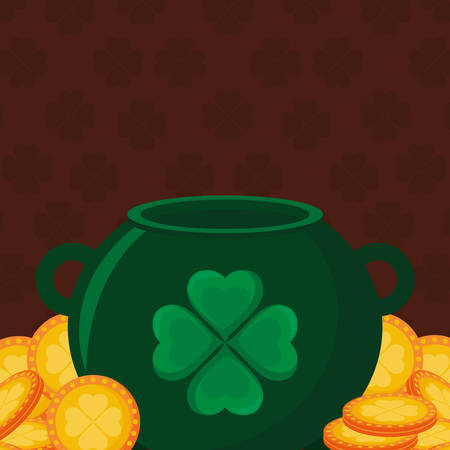 st patricks day card with cauldron and coins vector illustration design Ilustrace