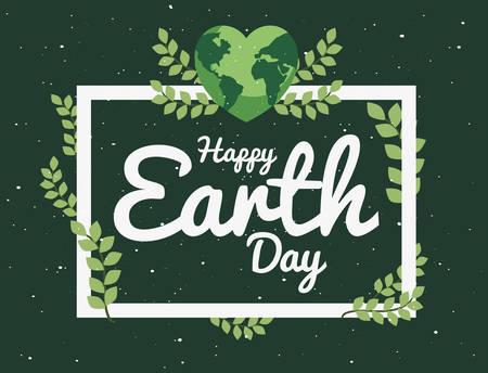 world shaped heart frame foliage happy earth day vector illustration