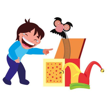boy box humor april fools day vector illustration Ilustrace