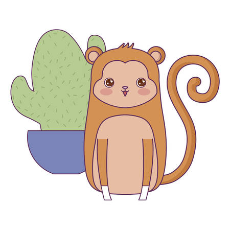 cute monkey animal with cactus in pot vector illustration design