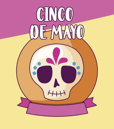 cinco de mayo celebration with skull decorative vector illustration design