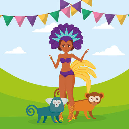 beautiful brazilian garota with exotic monkeys vector illustration design