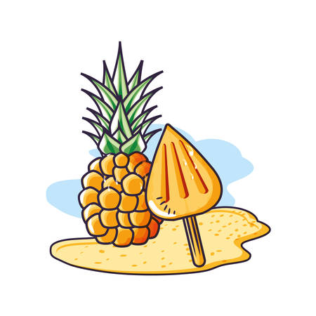 fresh pineapple in the beach with ice cream in the stick vector illustration design