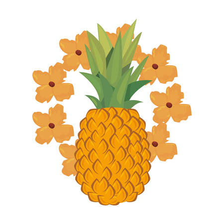 summer time holiday flower wreath pineapple   vector illustration Ilustrace