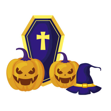 halloween pumpkins with hat witch and coffin vector illustration design Illustration