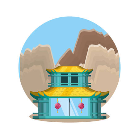 traditional architecture of china with landscape vector illustration design