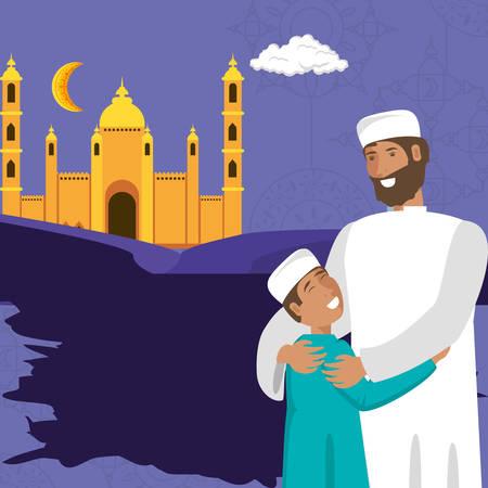 islamic man with son and ramadan kareem building vector illustration design