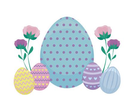 decorated eggs of easter vector illustration design Çizim