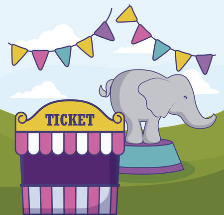tent sale ticket with elephant and garlands vector illustration design