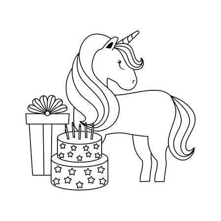 cute unicorn animal with gift box and cake of birthday vector illustration design