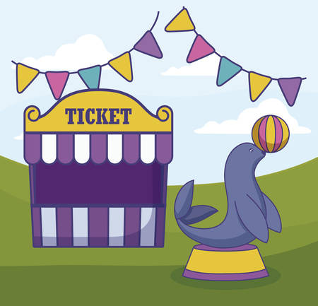 tent sale ticket with seal and garlands vector illustration design