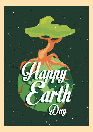 strong tree trunk with happy world earth day vector illustration vector illustration 일러스트