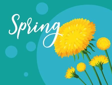 beautiful spring flowers card vector illustration design