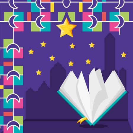 ramadan kareen celebration card with loram book vector illustration design