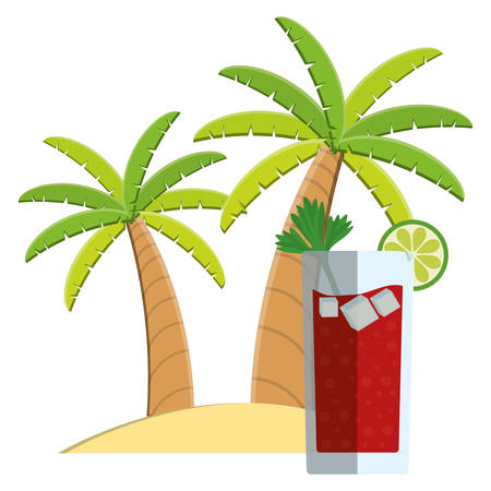 trees palms beach scene with cocktail vector illustration design