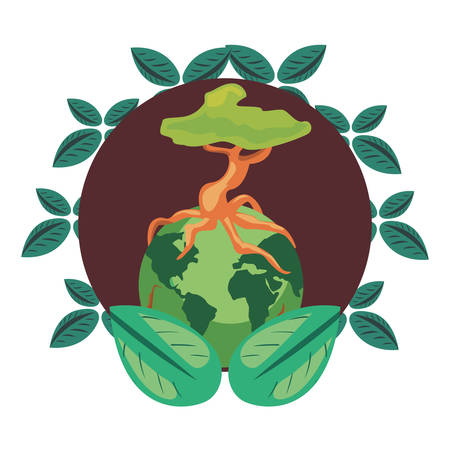 world tree leaves nature earth day vector illustration 일러스트