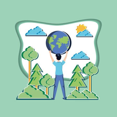 young man with world in eco friendly scene vector illustration design