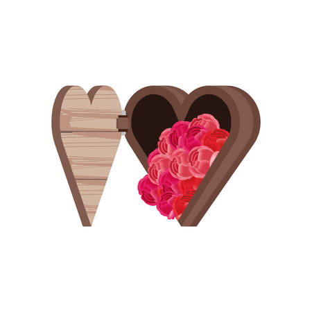 chest in heart shape with flowers vector illustration design Çizim