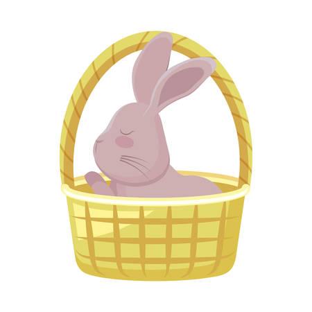 cute rabbit in basket wicker vector illustration design