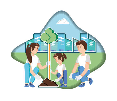 family planting with cityscape in eco friendly scene vector illustration design