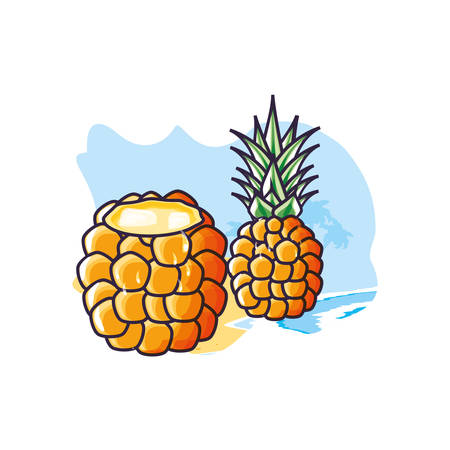 cocktail of pineapple fruit in the beach vector illustration design Ilustrace