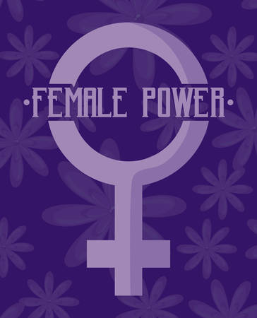 female power celebration card with gender female symbol vector illustration design Фото со стока - 129661619