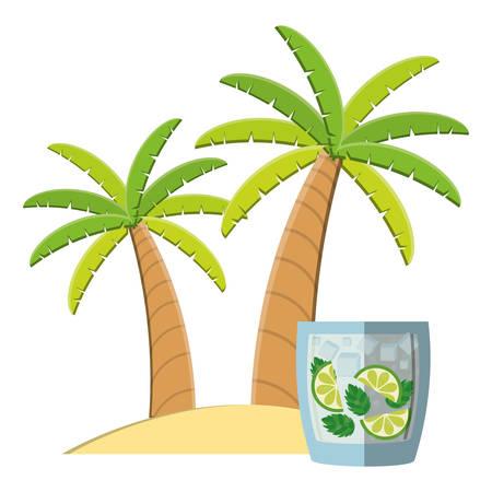 trees palms beach scene with lemonade cocktail vector illustration design Фото со стока - 129661672