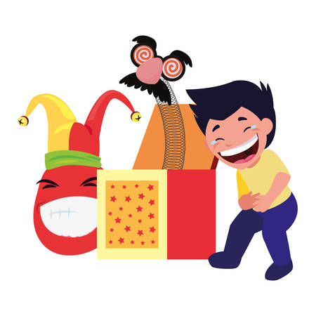 boy box emoji april fools day vector illustration