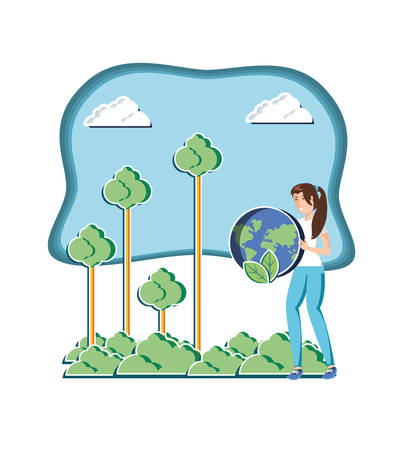 young woman with world in eco friendly scene vector illustration design  イラスト・ベクター素材