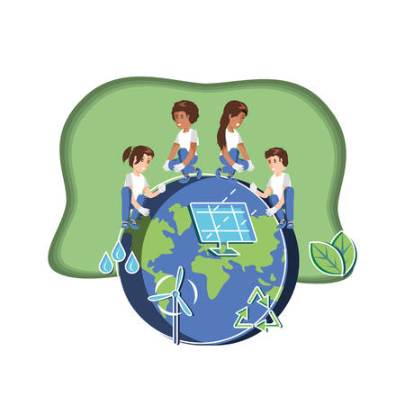 group of children with world and panel solar in eco friendly scene vector illustration design