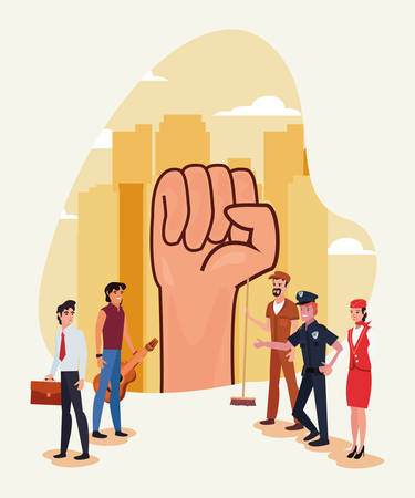 raised hand people profession labour day vector illustration design