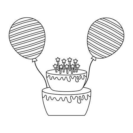 sweet cake with candles and balloons helium vector illustration design Stockfoto - 129661707