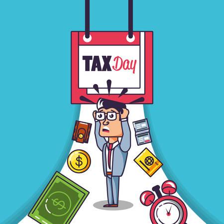 tax day with businessman and set icons vector illustration design Ilustração