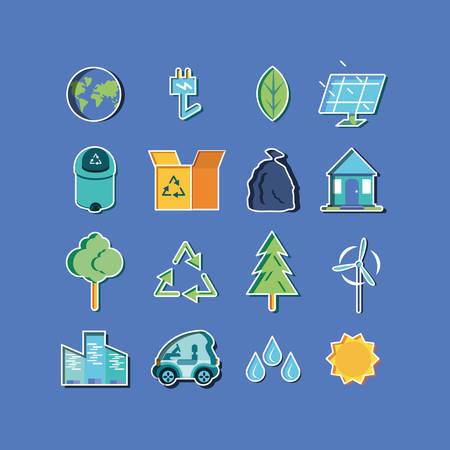 eco friendly set icons vector illustration design  イラスト・ベクター素材