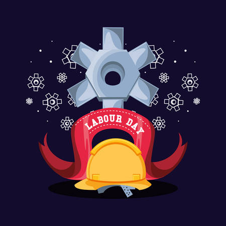 labour day with helmet security and pinion vector illustration design 向量圖像